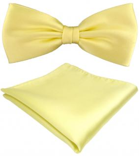 TigerTie Satin Fliege + Einstecktuch gelb blassgelb Uni einfarbig + Geschenkbox