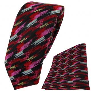 schmale TigerTie Krawatte + Einstecktuch rosa rot silber gold schwarz gestreift