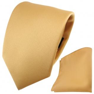schöne TigerTie Satin Krawatte + Einstecktuch in gold Uni - Tie Binder - Vorschau 2