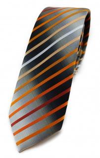 TigerTie - schmale Krawatte orange lachs weiss silbergrau schwarz gestreift