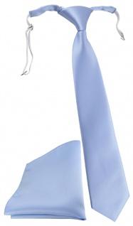 TigerTie Security Sicherheits Krawatte + Einstecktuch in hellblau einfarbig Uni