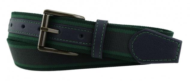 TigerTie - Stretchgürtel anthrazit grün dunkelgrün gestreift - Bundweite 120 cm