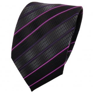 TigerTie Designer Krawatte schwarz anthrazit magenta lila gestreift - Binder Tie