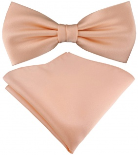 TigerTie Satin Fliege + TigerTie Einstecktuch in lachs Uni Einfarbig + Box
