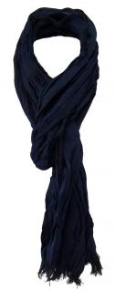 gecrashter Schal in marine dunkelblau Uni mit kleinen Fransen - Gr. 180 x 50 cm
