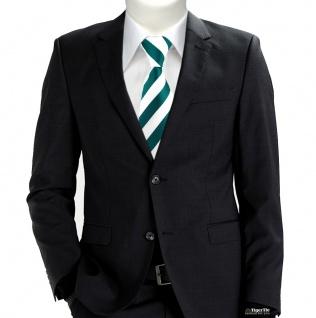 TigerTie Designer Krawatte in petrol weiss gestreift - Vorschau 5