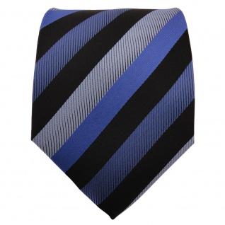 Schicke Krawatte blau verkehrsblau graublau royal schwarz gestreift - Binder Tie - Vorschau 2