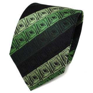TigerTie Designer Seidenkrawatte grün schwarz gestreift - Krawatte Seide Tie