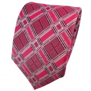 TigerTie Seidenkrawatte rot bordeaux silber grau kariert - Krawatte Seide