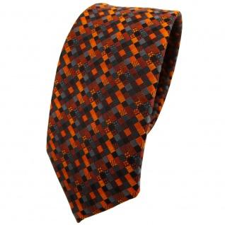 Schmale TigerTie Krawatte orange rotorange schwarz anthrazit grau gemustert - Vorschau 1