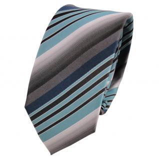 Schmale TigerTie Seidenkrawatte türkis petrol grau anthrazit gestreift- Krawatte