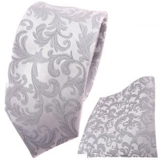 schmale Hochzeit Seidenkrawatte + Einstecktuch in silber Rankenmuster Uni