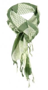 Halstuch in khaki olivgrün grün Motiv Zylinder-Totenkopf gemustert mit Fransen