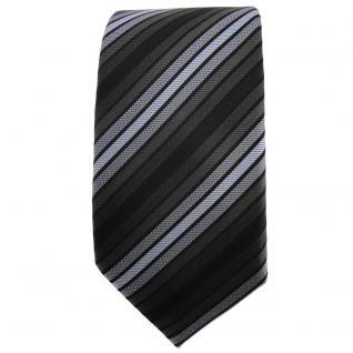 Schmale TigerTie Krawatte blau anthrazit schwarz gestreift - Schlips Binder Tie - Vorschau 2