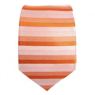 feine Designer Krawatte in rot orange grau gestreift 100% Seide - Vorschau 2