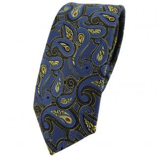 schmale TigerTie Designer Krawatte in blau gold rot schwarz Paisley gemustert