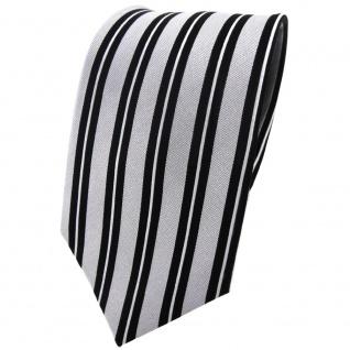 Seidenkrawatte silber schwarz längs gestreift - Krawatte Seide Tie Binder Silk