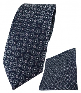 TigerTie Krawatte + Einstecktuch in anthrazit rosa silber schwarz gemustert - Vorschau 1