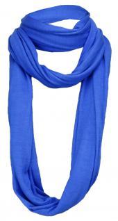 TigerTie Loop Schal in blau einfarbig Uni - Gr. 180 x 40 cm - Rundschal