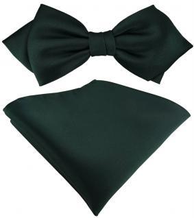 vorgebundene TigerTie Spitzfliege + Einstecktuch in dunkelgrün einfarbig + Box