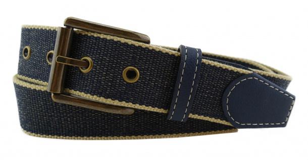 TigerTie - Stoffgürtel in dunkelblau marine beige gemustert - Bundweite 90 cm