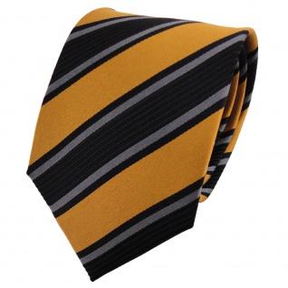 TigerTie Seidenkrawatte gold anthrazit schwarz gestreift - Krawatte 100% Seide