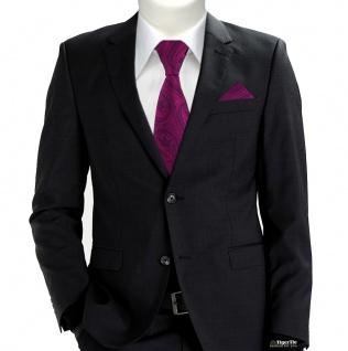 TigerTie Designer Krawatte + Einstecktuch magenta lila schwarz Paisley gemustert - Vorschau 2