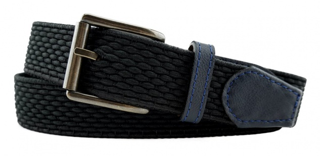 TigerTie - Stretchgürtel in schwarz einfarbig - Bundweite 90 cm
