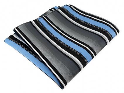 TigerTie Designer Einstecktuch in hellblau silber grau weiss schwarz gestreift - Vorschau 1