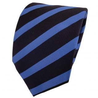 Designer Seidenkrawatte blau signalblau dunkelblau gestreift- Krawatte Seide