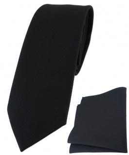 schmale TigerTie Krawatte + Einstecktuch aus 100% Baumwolle in schwarz Unicolor