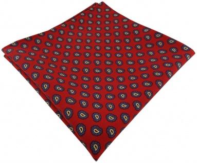 TigerTie handrolliertes Seideneinstecktuch in rot blau gold schwarz Paisley