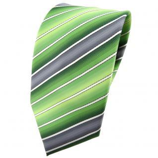 TigerTie Krawatte grün hellgrün grau creme gestreift - Binder Tie
