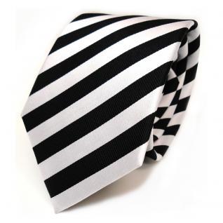 TigerTie Designer Seidenkrawatte schwarz weiss silber gestreift - Krawatte Seide