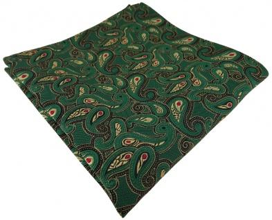 TigerTie Einstecktuch in grün rot gold schwarz Paisley gemustert - Stecktuch