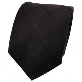 TigerTie Seidenkrawatte schwarz einfarbig kariert - Krawatte Seide Silk Binder