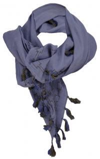 Halstuch in blaugrau olive blau mit Fransen und Bommeln - Gr. 100 x 100 cm