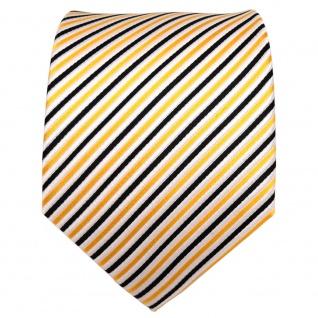 TigerTie Designer Seidenkrawatte gelb schwarz weiß gestreift - Krawatte Seide - Vorschau 2