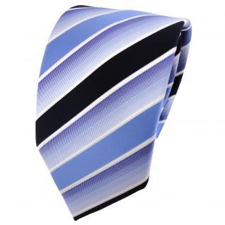 TigerTie Designer Krawatte blau hellblau dunkelblau weiß gestreift - Binder Tie