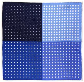 Multi Einstecktuch in marine royal blau dunkelblau weiss gepunktet - 100% Seide