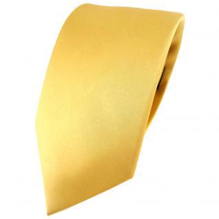 Modische TigerTie Satin Seidenkrawatte gold hellgold einfarbig - Krawatte Seide