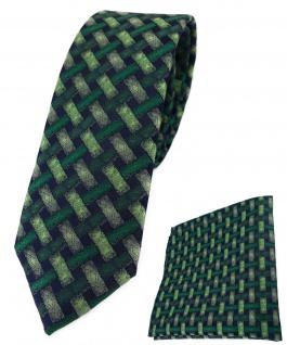 schmale TigerTie Krawatte + Einstecktuch grün schwarz - Motiv Flechtmuster