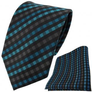 TigerTie Designer Krawatte + Einstecktuch türkis anthrazit schwarz gestreift