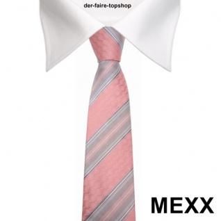 Mexx Seidenkrawatte rosa grau silber gestreift - Krawatte Seide Tie - Vorschau 2