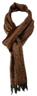 TigerTie Schal in orange braun schwarz gemustert - Gr. 160 x 30 cm - 100% Wolle