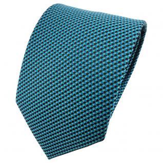 schöne Krawatte in türkisblau schwarz gemustert - Krawatte Binder Tie