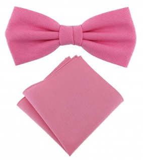 TigerTie Herrenfliege - Einstecktuch rosa pink Uni - Halsumfang verstellbar -Box