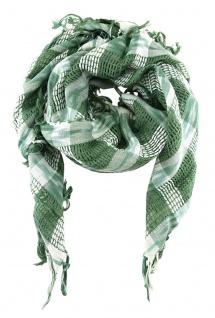 Halstuch in grün grau weiss gemustert mit Fransen - Gr. 90 x 90 cm