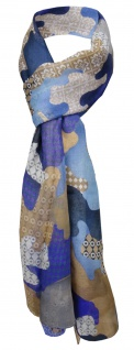 Feiner Schal in blau braun lila grau gemustert - Gr. 180 x 70 cm - Halstuch Tuch