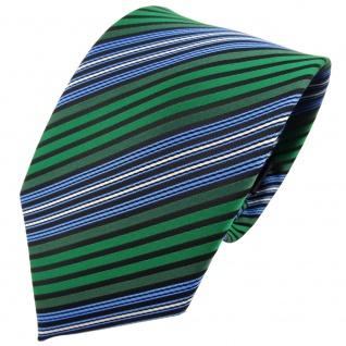TigerTie Krawatte grün blau schwarz silber gestreift - Binder Tie